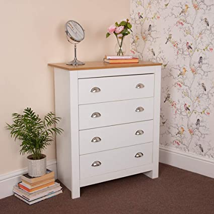 Excellent Wido 4 Drawer White Wooden Chest Of Draws Bedroom Furniture Bedside Table Cabinet Home Interior And Landscaping Ponolsignezvosmurscom