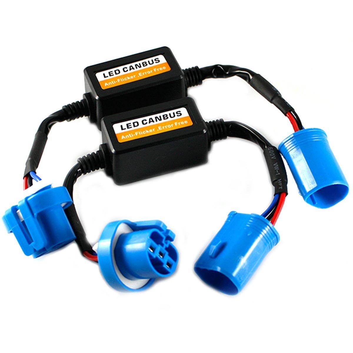 Treedeng Canbus EMC Warning Error Free Decoder Canceller Capacitor Anti-flicker Resistor harness for LED Headlights (9005/9006)