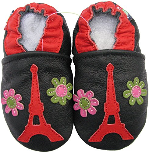 Carozoo baby girl soft sole leather infant toddler kids shoes Eiffel Tower Flower 18-24m