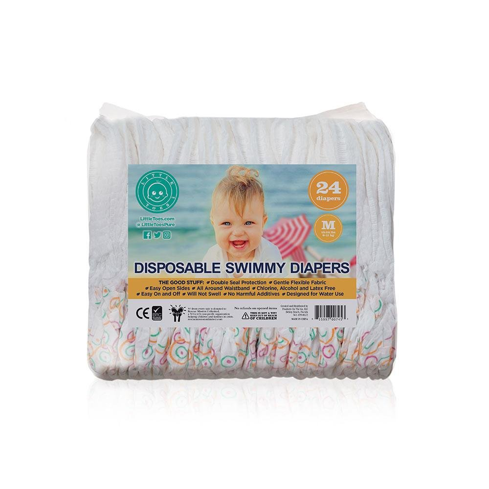 Little Toes Disposable Swimmy Diapers (Medium, 24 Count)