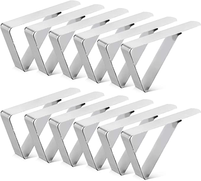 12Pack Tablecloth Clips, Picnic Table Clip, Outdoor Indoor Table Cover Clamps, Stainless Steel Table Cloth Holders for Party, Camping, Wedding