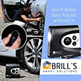 BRILLS DAC12 Digital Air Compressor up to 150 Psi , for Cars , Bikes , Motorcycle , Balls , 12V Portable Electric Tire Inflator . SOS Flashligh and Bonus - double USB Car Charger