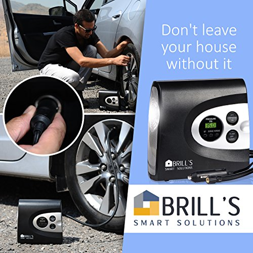 BRILL'S 12V DC Portable Tire Inflator Pump, 150 Psi Electric Air Compressor for Cars, Bikes, Motorcycles and Balls. Carry Case and USB Car Charge Included by BRILL'S SMART SOLUTIONS (Image #1)