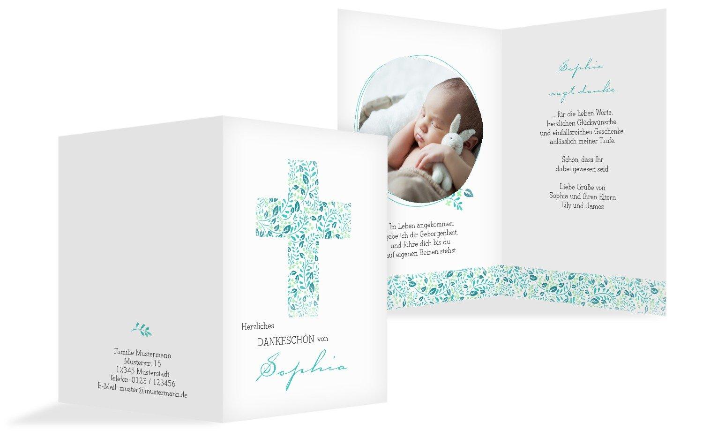 Taufe Dankeskarte Blaumenkreuz, 20 Karten, AquaTürkis B073W9W98Q   Die Königin Der Qualität    Wonderful    Moderne und stilvolle Mode
