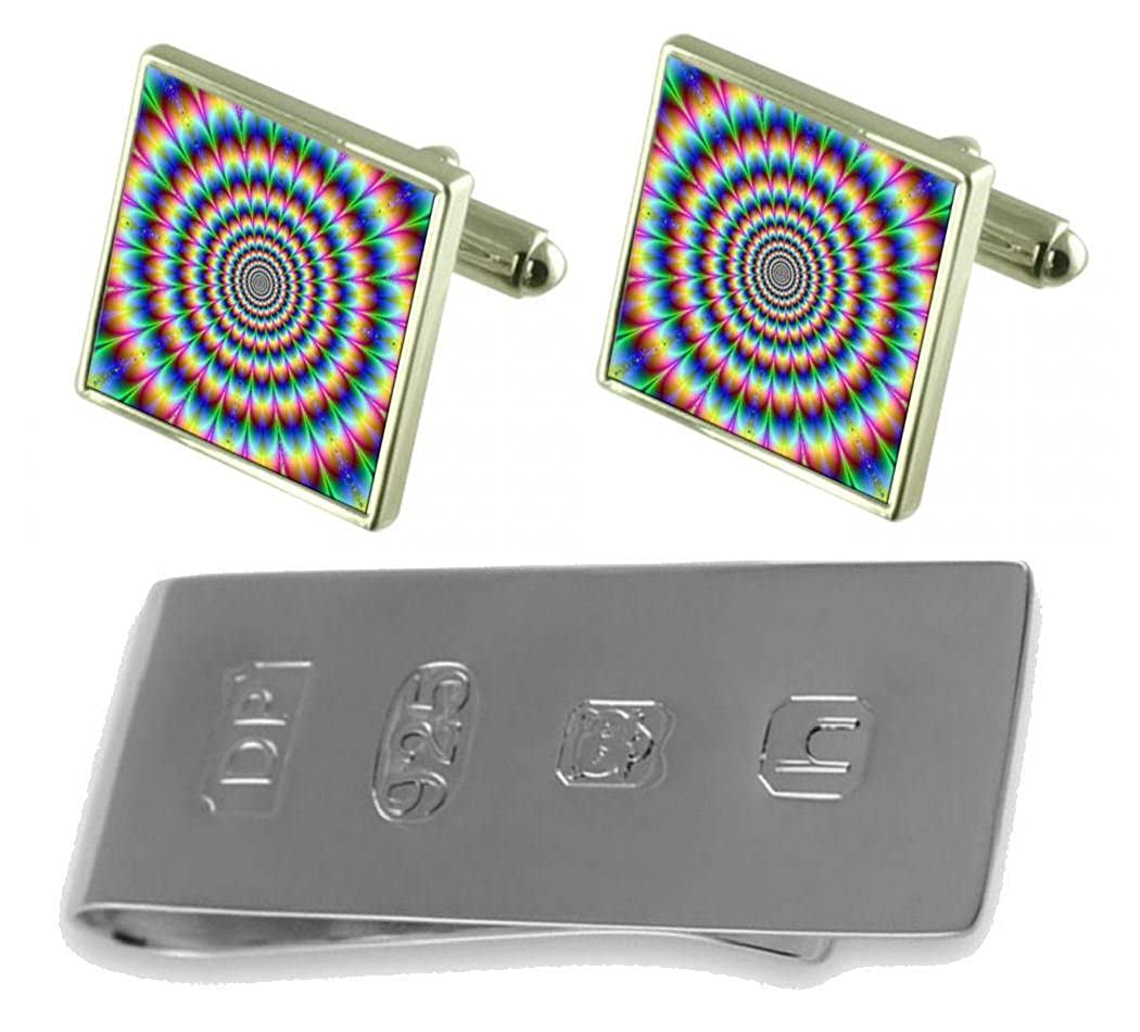 Select Gifts Psychedelic Cufflinks /& James Bond Money Clip