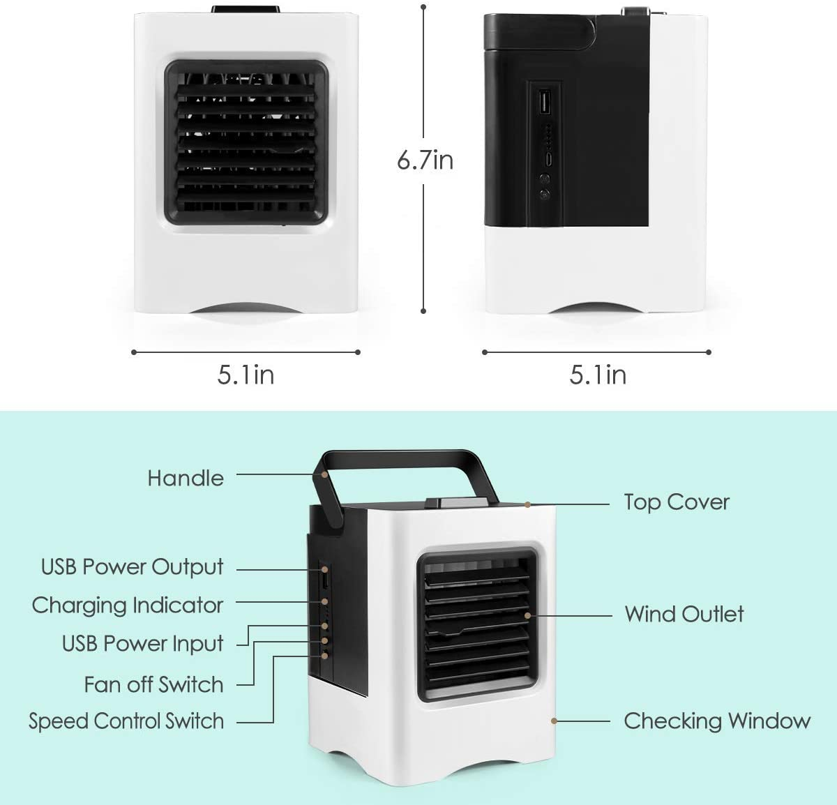 Mini Portable Conditioner Fan Noiseless Evaporative Air Humidifier for Room Office Desktop Nightstand Fannel Cooler T White New1 Renewed