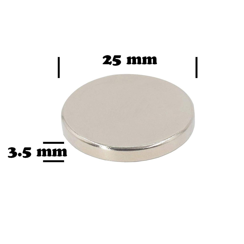 paquete de 6 Im/án de disco de neodimio 25 mm de di/ámetro x 3,5 mm de espesor 6 kg Pull