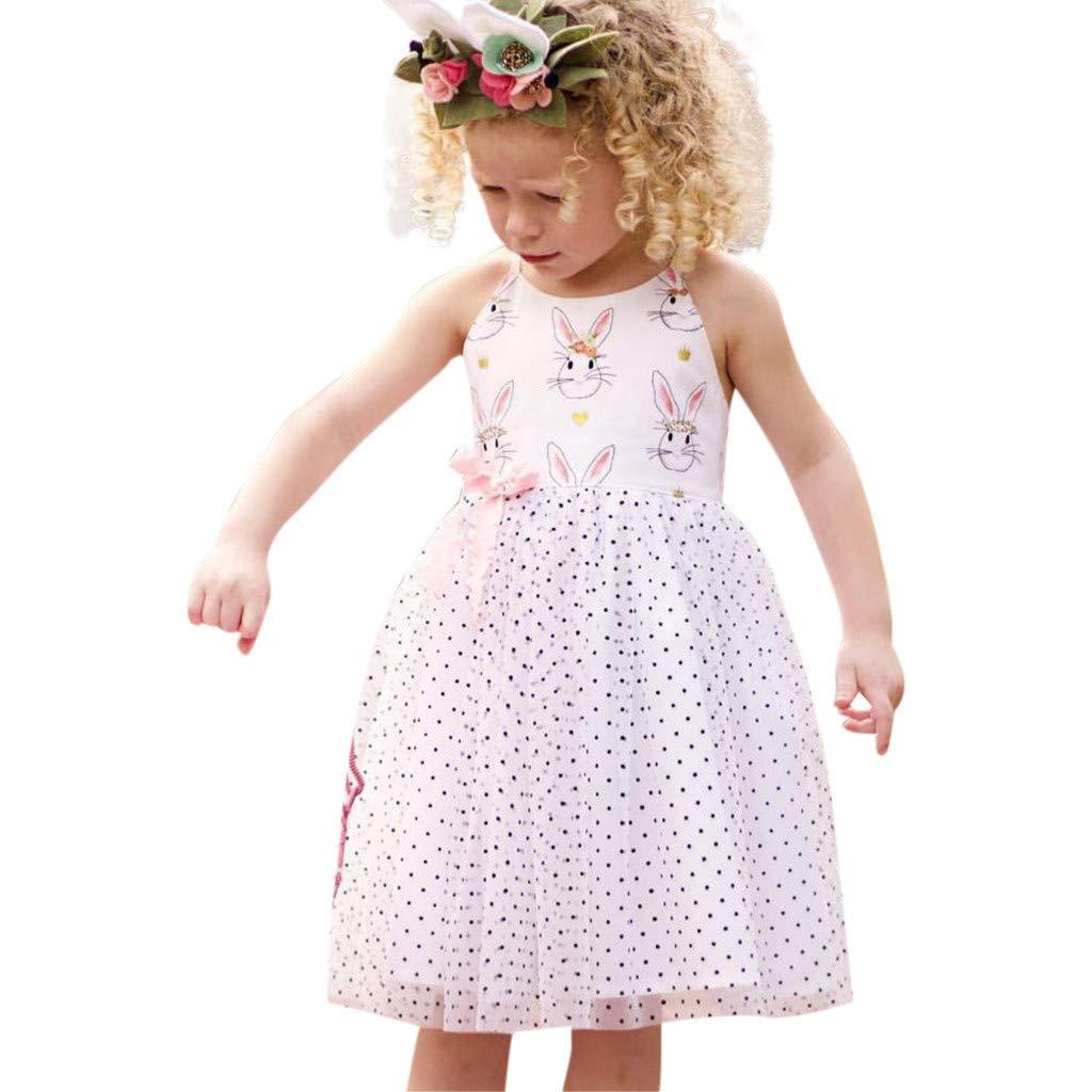 Mysky Summer Kids Baby Girl Popular New Sweet Bunny Print Classic Polka Dot Tulle Skirt Prom Party Princess Dress