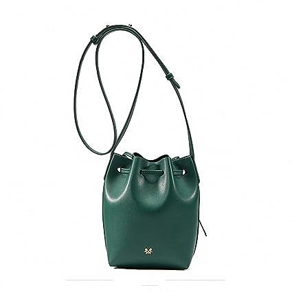 8370b363 Split Leather String Bucket Bag Women Handbags Women Messenger Bags  Shoulder Bag Crossbody Bags Green