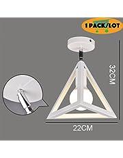 Yoochin 1pack/lot Geometry Stylish Modern led Birdcage Ceiling Lights Iron Minimalist Retro Ceiling lamp Scandinavian loft Pyramid lamp Metal cage Angle Adjustable Light (White, Triangle)