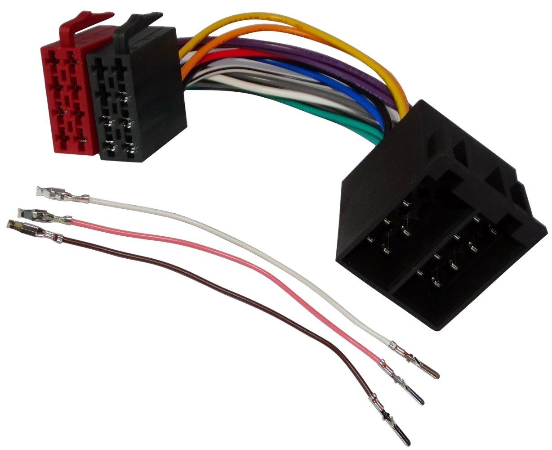 AERZETIX: Extension 20cm conector enchufe ISO 16PIN 8+8 para autoradio precableado universal potencia+sonido altavoces recintos macho hembra C12088 SK2-C12088-A213
