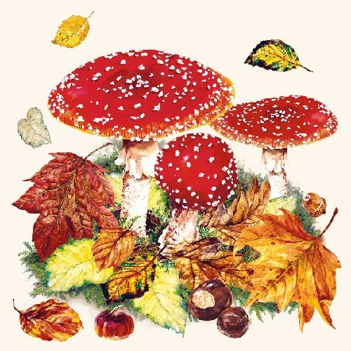 4 Individual Napkins for Craft and Napkin Art. 4 Paper Napkins for Decoupage Fly Agaric 33 x 33cm 3-ply