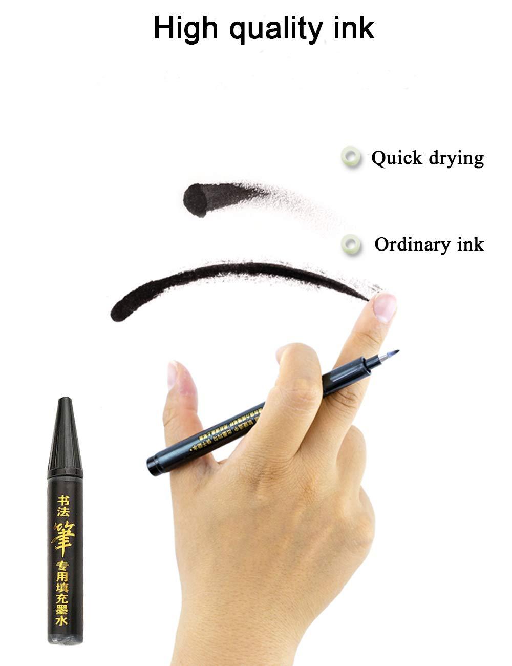 Stylo de Calligraphie Stylos Pinceaux Rechargable Noir Feutre /à Pinceau Souple 4Taille Diff/érentes avec 1Poche d/'Encre pour Manga Dessin Conquis etc