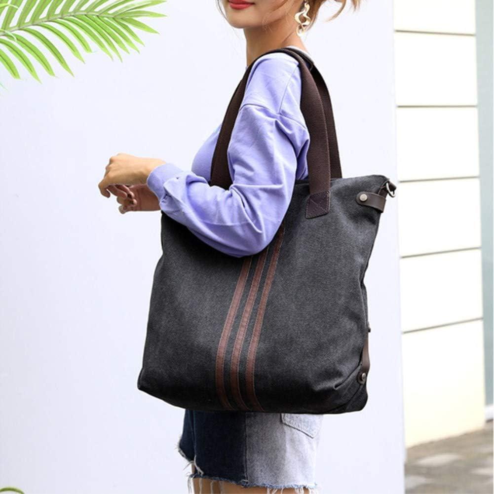 A.OAQRFA Vintage Canvas Damen Handtaschen Messenger Bags für Frauen, gestreifte Taschen Boston Handtaschen, 35X15X40CM Schwarz