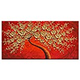 Okbonn-Hand Painting Plum Blossom Tree Textured White Golden Flower Oil Painting On Canvas Modern Wall Art Abstract Contemporary Artwork Floral Decor Hanging Framed Ready To Hang (2448 Inch)