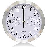 VSENCE Silent Non-ticking Quartz Wall Clock with Thermometer and Hygrometer Aluminium Indoor Decor Clock 10 Inch Silver