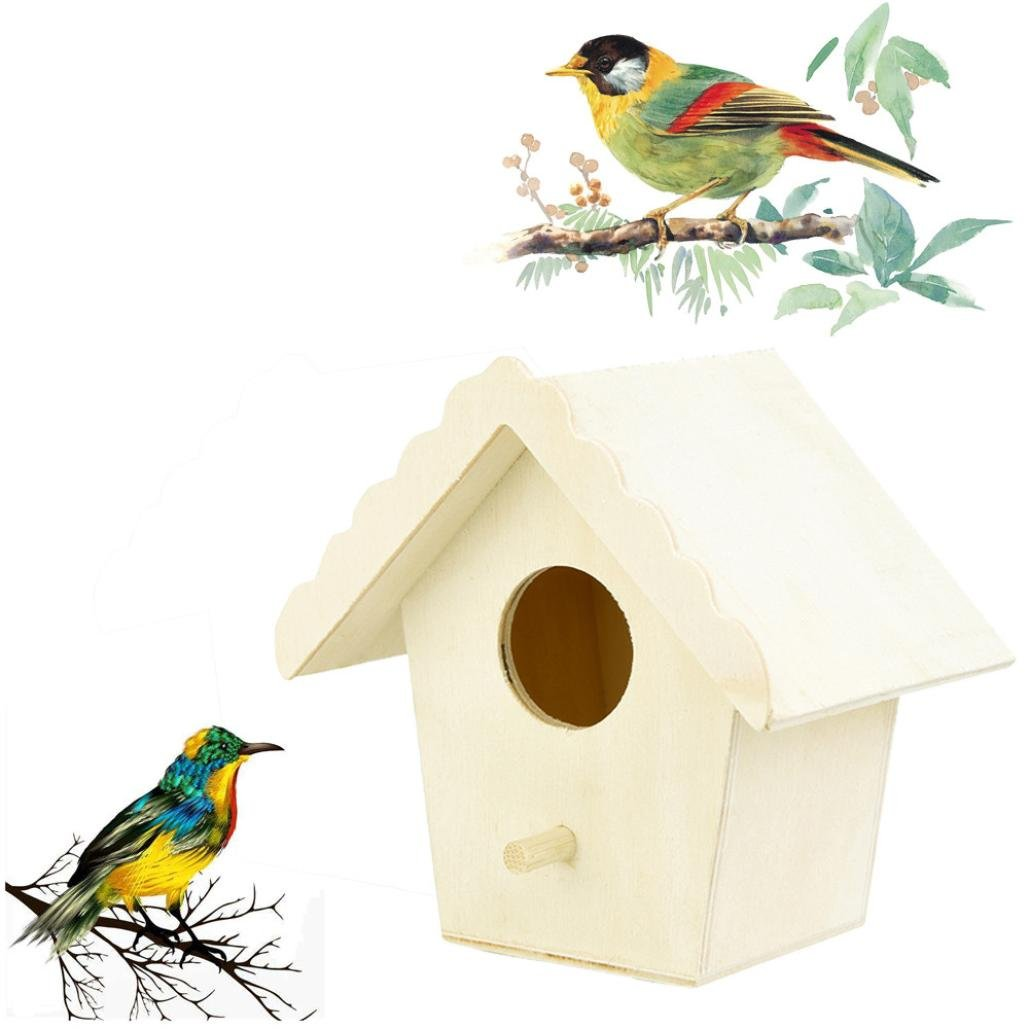 Nesix Wooden Bird Hut - Cozy Resting place for birds - Provides shelter from cold weather - Bird hideaway from predators - Wooden Box for Bird Nest Bird House - Ideal for Finch & Canary (Khaki)
