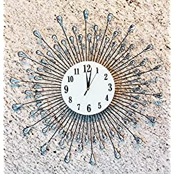Atlantic Collectibles Oversized Rain Crystal Droplets Contemporary Style Wall Clock 27Diameter Decor Rain Bursts Modern Design