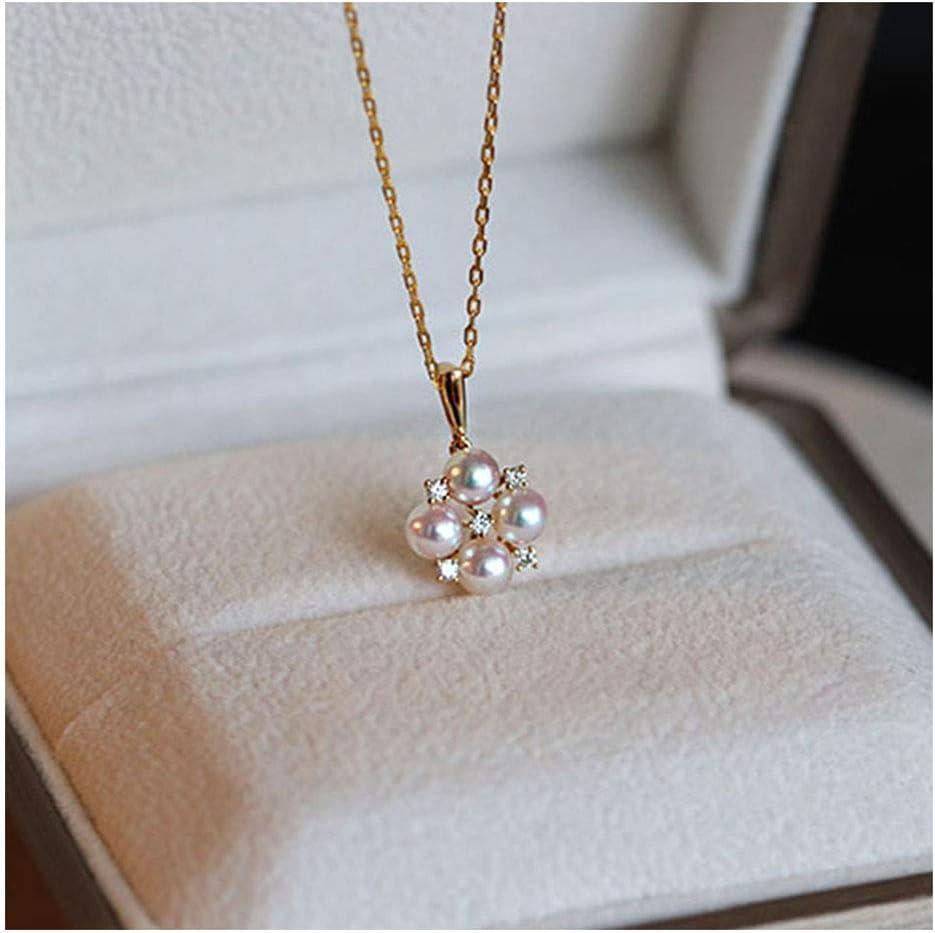 Perla Natural Colgante Los 5-5.5MM Perla Cultivada Akoya Blanca Colgante Collar De Cadena De Oro De 18 Quilates, Embalaje Elegante De La Caja De Regalos, Joyería Fina para Mujer