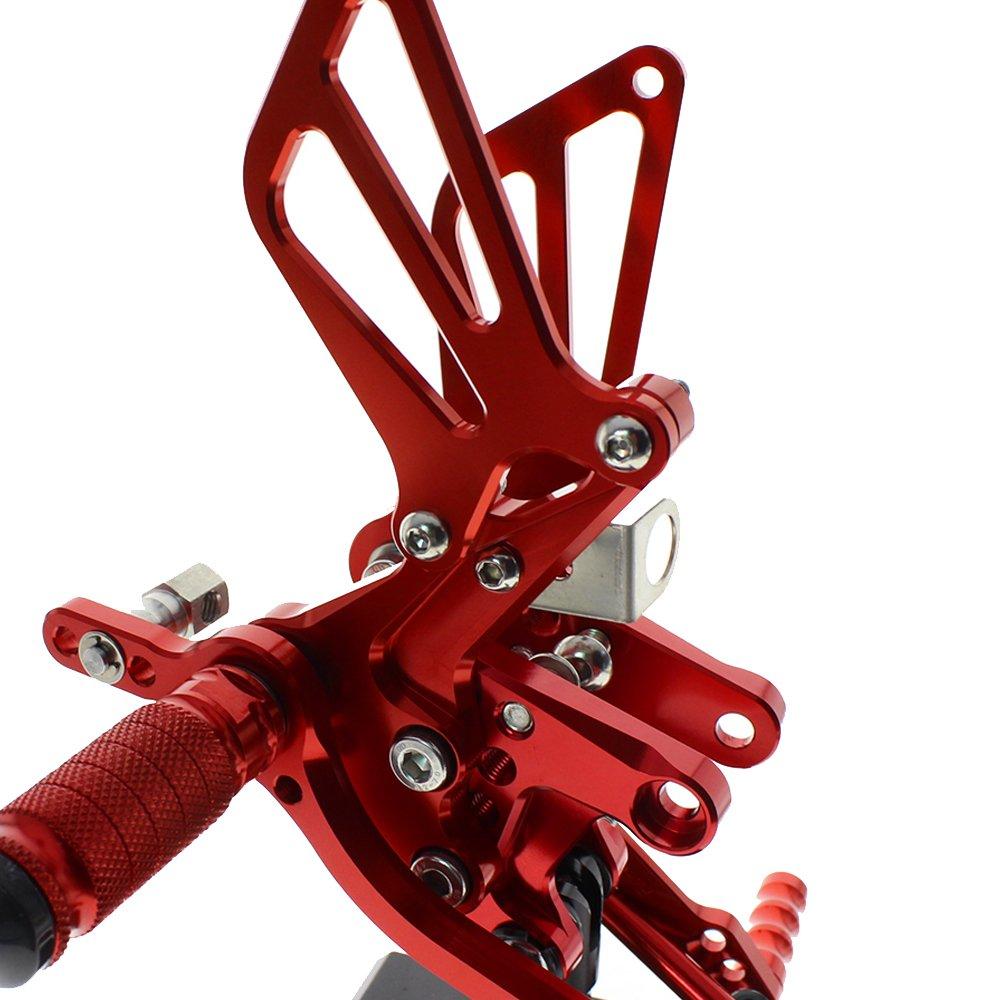 rzmmotor motocicleta de aluminio Clavijas de Pie trasera trasero reposapi/és juntas de pie totalmente ajustable en la parte posterior
