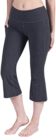 SYKROO Women's High Waist Yoga Capris Cropped Leggings Running Workout Tummy Control Pants with Side Pockets