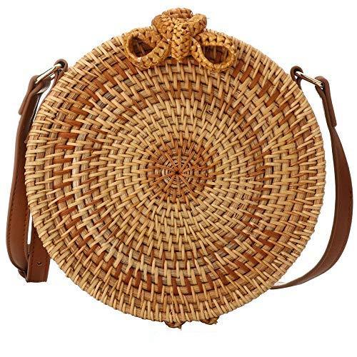 Handwoven Round Rattan Bag Straw Bag - Women Wicker Woven Purse Handbag Circle Boho Bag Bali ()