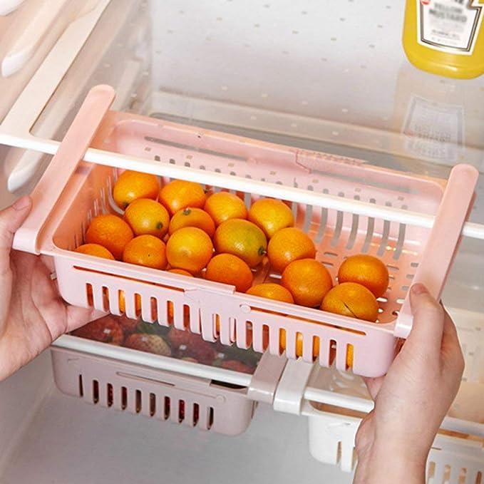 Organizador De Cajón Para Nevera 1 Unidades Caja De Almacenamiento Retráctil Para Refrigerador Estante Para Nevera Caja De Almacenamiento Pequeño Amazon Es Hogar
