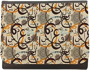 محفظة جلد  بتصميم زخرفة احرف عربية ، مقاس 12cm X 10cm
