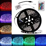 EverBrightt DC 12V 1 Set RGB 5M 5050 300SMD LED Waterproof Flexible Strip Light PCB Black For Car Truck Neon Undercar Lighting House Decoration Stage Music Colorful Lights With 24 Key Remote For Sale