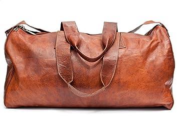 Barello London Unisex Handmade Real Leather Duffel Bag Weekend Bag ...
