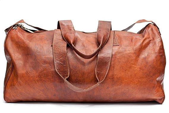 cf3b307fe3e77 Barello Hemingway Echt Leder Duffle Bag Wochenend Tasche Große Reisetasche  Leder Unisex Braun Duffle Bag