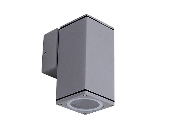 Applique parete esterno moderno quadrato alluminio grigio gu