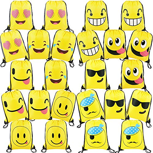 24 Pieces-Cute-Emoji-Party-Supplies-Favors-Bags Drawstring Backpacks for Teens Boys Girls Birthday Ideas Goody Gift -