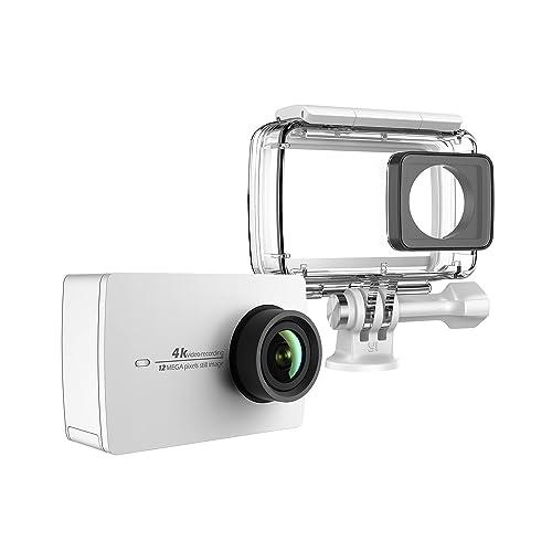 YI Action Camera 4k Action Cam con Custodia Impermeabile, Action Cam HD 4K / 30 fps, 1080p / 120 fps con Case Waterproof, Fotocamera Digitale 12 MP, WiFi (Bianco)