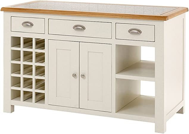 The Furniture Market Cotswold Cream Painted Kitchen Island With