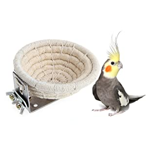 Handmade Cotton Rope Bird Breeding Nest Bed for Budgie Parakeet Cockatiel Parakeet Conure Canary Finch Lovebird and Small Parrot Cage Hatching Nesting Box