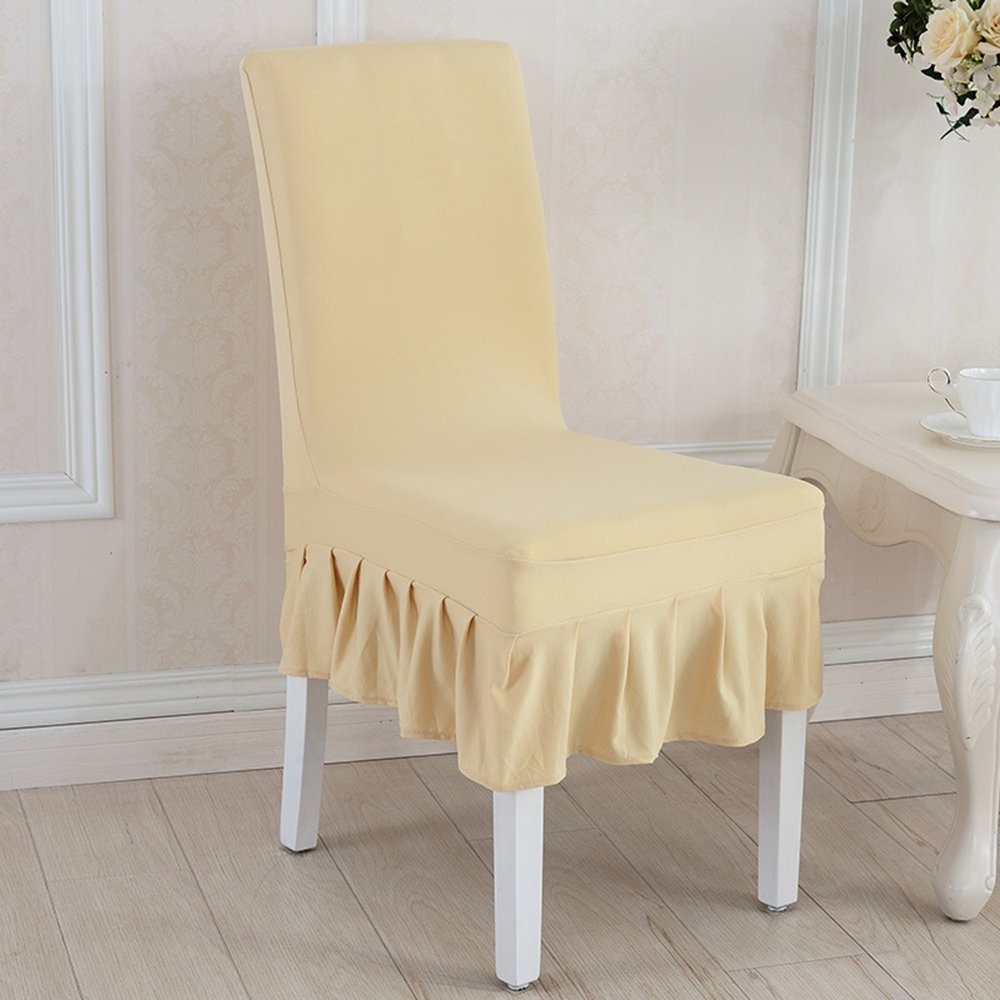 Awland Dining Chair Cover Slipcovers Seat Protector Short Stretch Spandex Dining Room Banquet Chair Seat Cover for Kitchen Wedding Bar Hotel Party Home (Set of 4) - Champagne