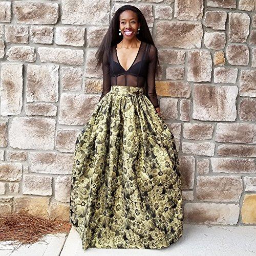 Soft Brocade Metallic Gold Florals on Black Ball Skirt by BallSkirts