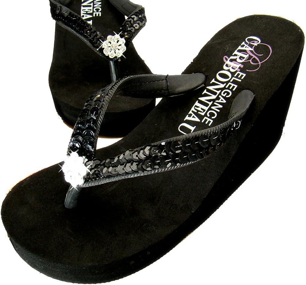 Breeze Black Platform Flip Flops Womens High Heel Flip Flops Size 7 Prom Flip Flops