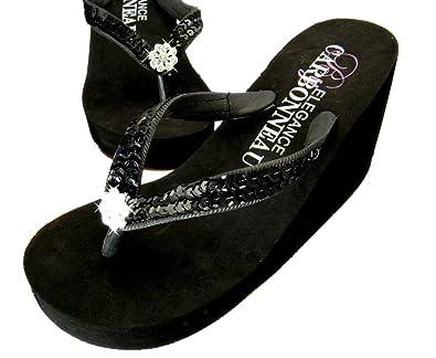 1c9e0121e Elegance by Carbonneau Breeze Women s High Heel Flip Flop Black Foam Rubber  Sandal - 5 M