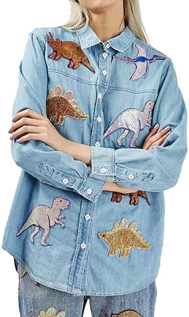 Camisa Jeans Mujer Fashion Elegantes Dinosaurio Patrón Lentejuelas Blusas Manga Larga Anchos Sencillos Un Solo Pecho De Solapa Ocasional Denim Camisas Camisas Tops Primavera Otoño Estilo: Amazon.es: Ropa y accesorios
