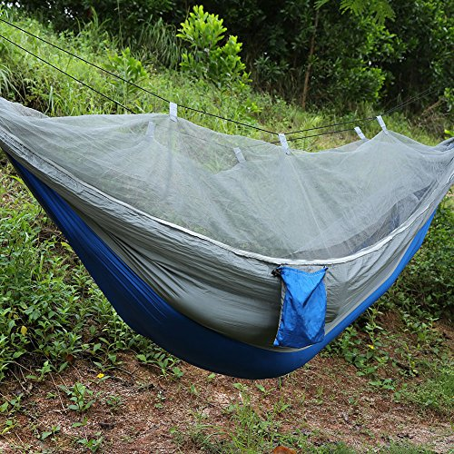 Camping Tent Hammock,Double Person Camping Tent Hammock Professional Grade Ripstop Nylon Strength Tree Friendly Straps With Mosquito Net for Outdoor Garden Jungle (Sapphire Jungle)