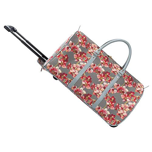 32c2fd85e3 Signare Tapestry Women Wheeled Holdall Pull Along Luggage Pink and Red  Orchid Flower in Grey