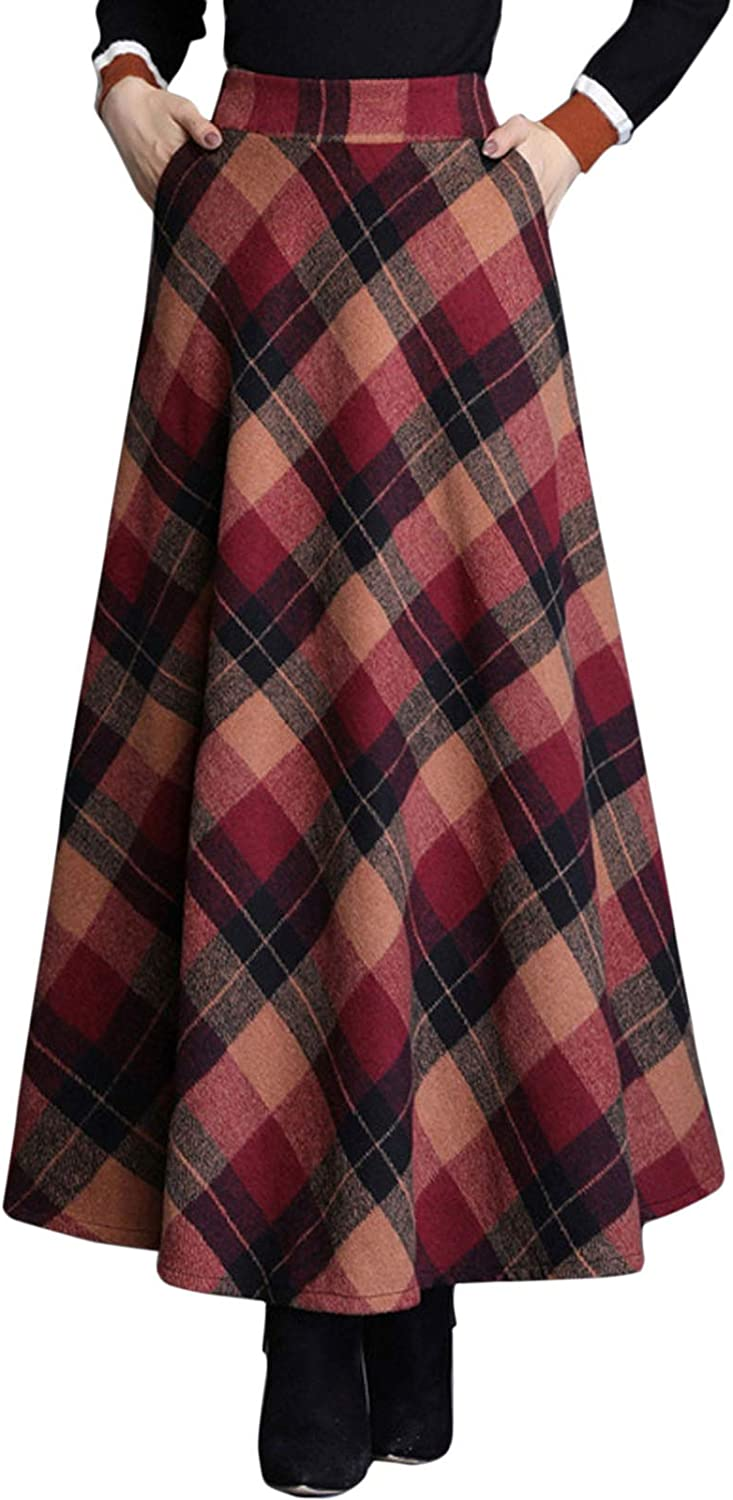 1920s Skirt History Flygo Womens Winter Warm Wool Plaid A-Line Pleated Midi Long Skirt Back Elastic $34.98 AT vintagedancer.com