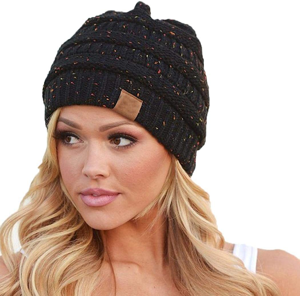 Kikole Women Winter Warm Stretch Knitted Cap Beanie Hats Headband Skullies /& Beanies