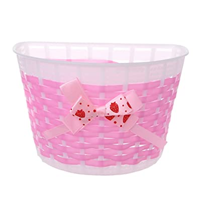 RingBuu Bicycle Scooter Basket Children Bike Plastic Knitted Bow Knot Front Handmade Bag (Pink) : Sports & Outdoors