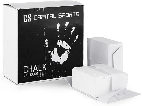 CapitalSports Capital Sports Pridium Magnesio Escalada (8X Tiza carbonato Blanca,8 Bloques 56g, Ideal Entrenamiento con Pesas, Gimnasia, 8 Pastillas ...