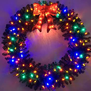 4 foot multi color led christmas wreath - Christmas Wreaths With Lights