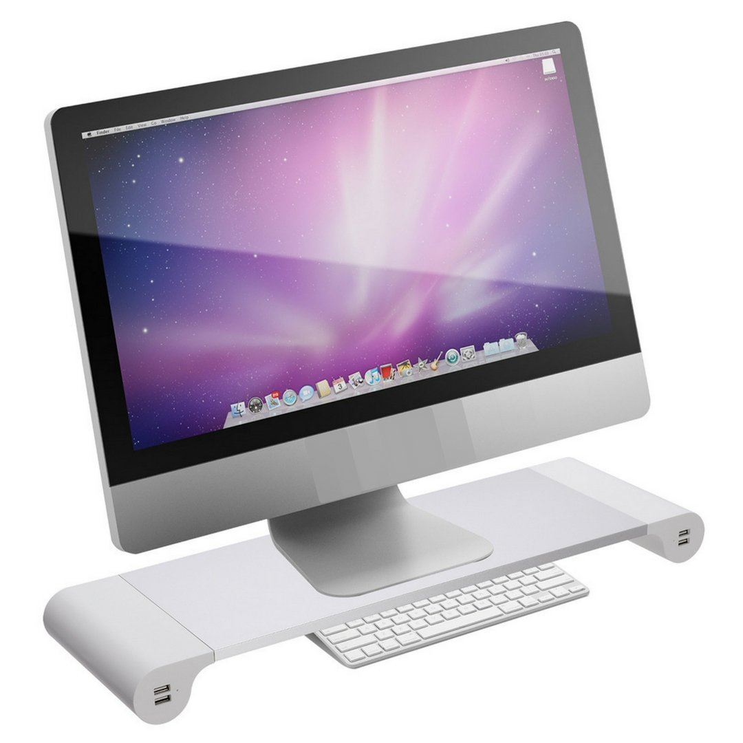Monitor Stand Riser for Computer PC MAC - Reduce Neck Pain - Keyboard Storage Office Desk Drawer Organizer Keep It Neat and Tidy - 4 USB Power Charging Station (WALL PLUG) Within Your Arm Reach by Howamaz (Image #1)