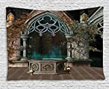 Ambesonne Gothic House Decor Tapestry, Mystical Patio with Enchanted Wishing Well Ivy on Antique Gateway to Magical Forest, Wall Hanging for Bedroom Living Room Dorm, 80 X 60 Inch, Multicolor